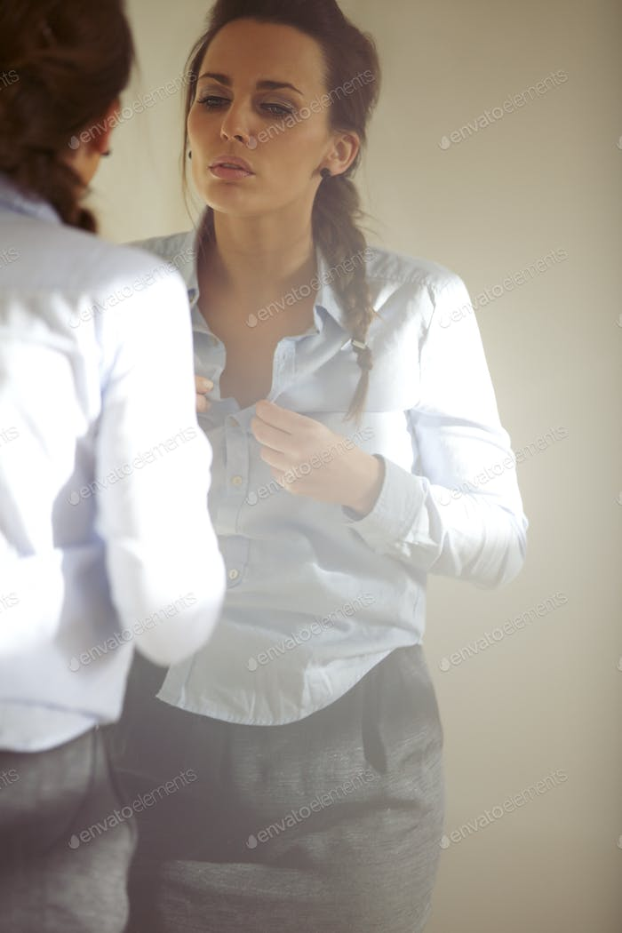 Woman getting ready for work