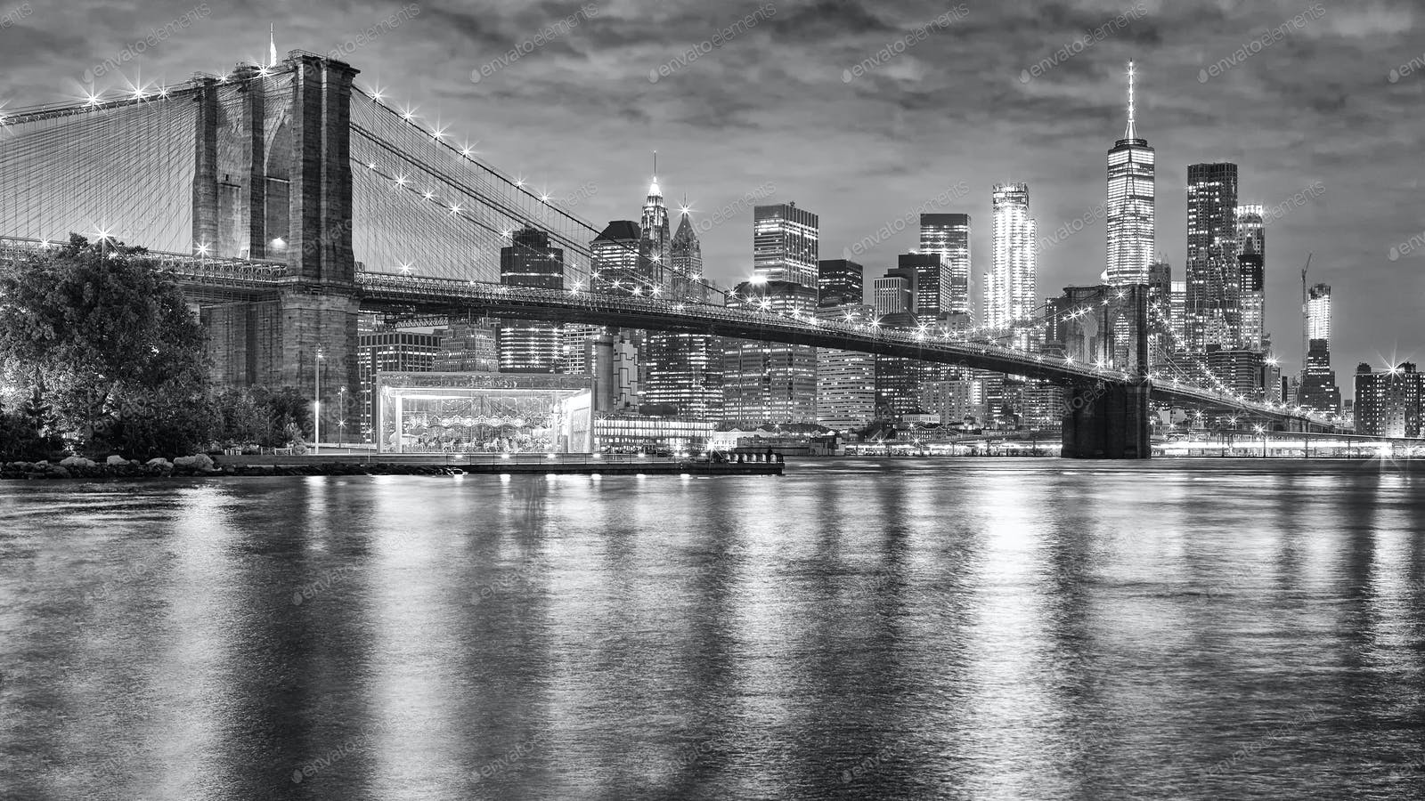 Brooklyn Bridge And Manhattan At Night New York City Usa Photo