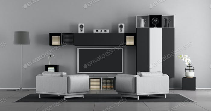 Black and white living room with tv set