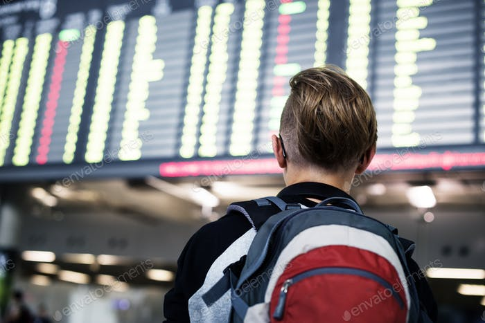 Rear view of young caucasian man checking flight schedule at air