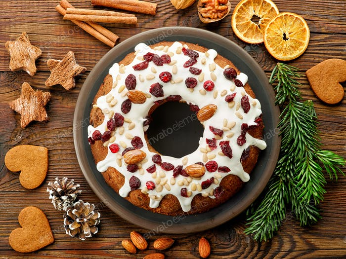 Christmas cake with fruits and nuts