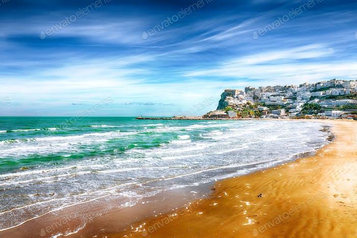 Picturesque Peschici with wide sandy beach in Puglia, adriatic coast of Italy.