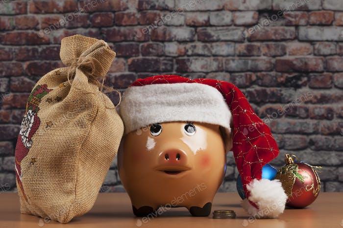 Schweinchen und Geschenktüte