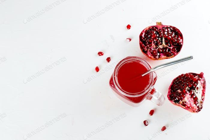 Mason jar with pomegranate juice