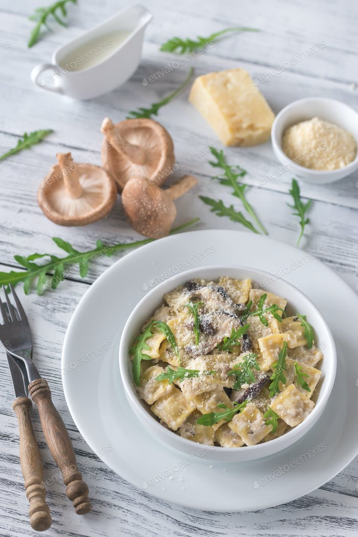 Portion of creamy mushroom ravioletti