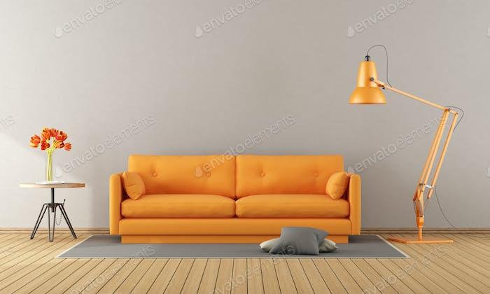 Orange sofa in a modern room