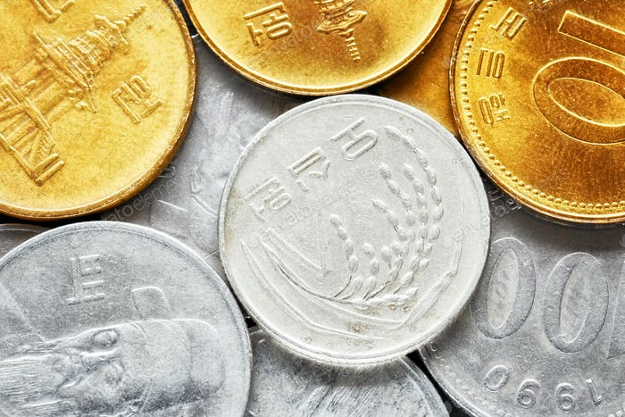Extreme close up picture of South Korean won coins.