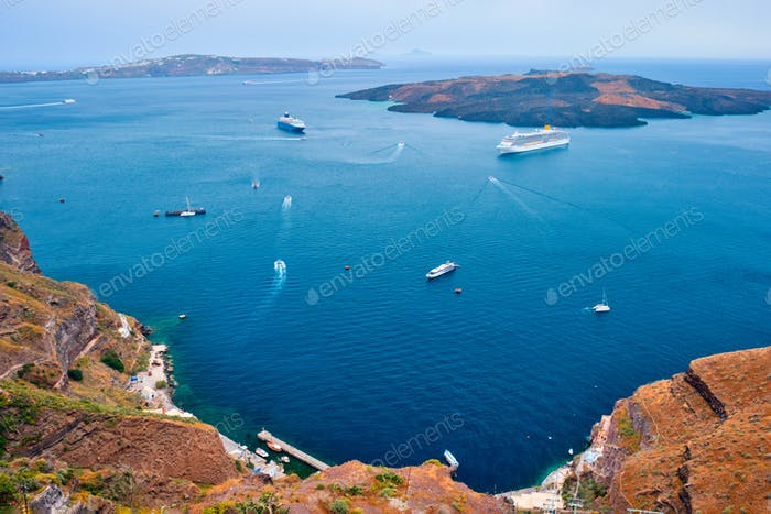 Cruise ships and tourist boats in sea