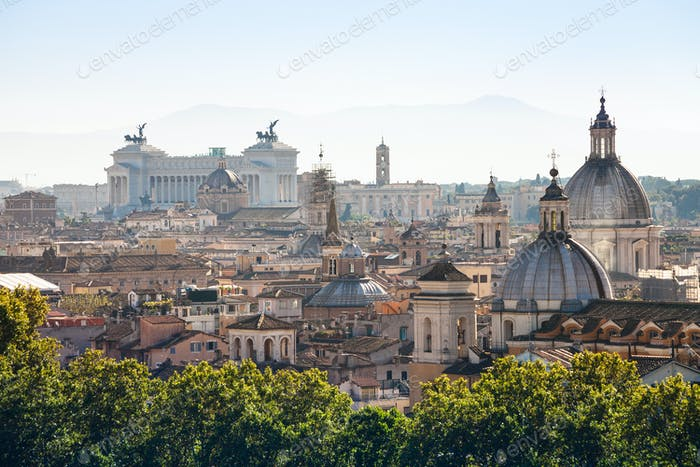 view of ancient center of Rome on Capitoline Hill