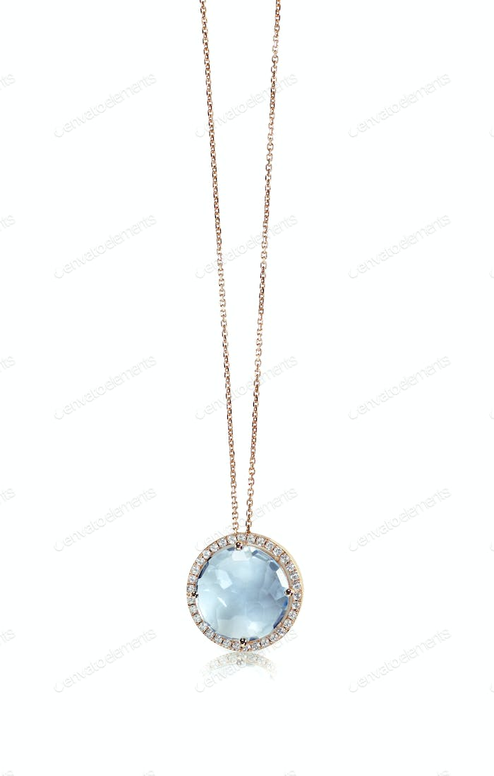 Blue topaz Cushion Cut gemstone diamond pendant necklace
