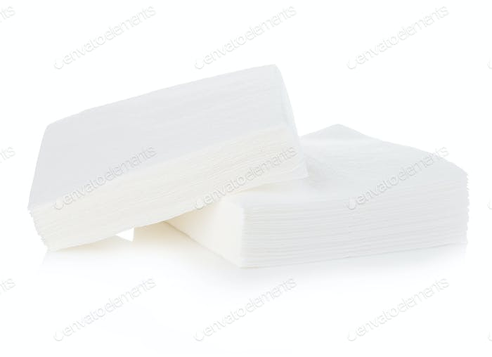 Napkins close-up isolated on a white background.