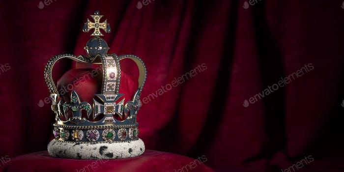 Königliche goldene Krone mit Juwelen auf Kissen auf rosa-rotem Hintergrund.