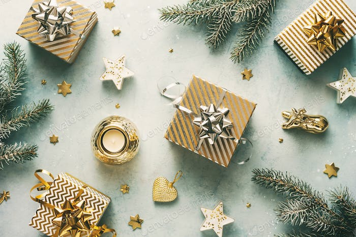 Holiday background with christmas gifts