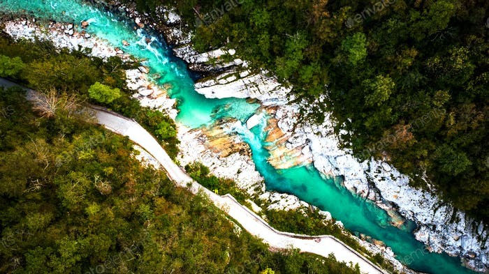 Emerald Soca River in Soca Valley, Slovenia. Aerial Drone Top Do