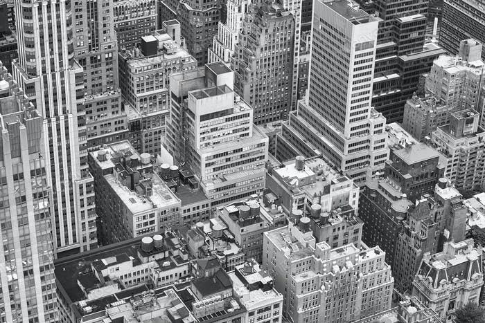 Black and white aerial picture of New York City.