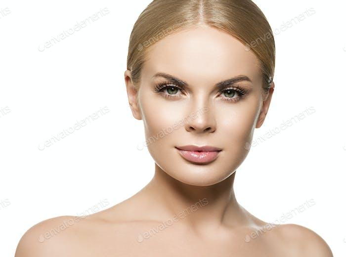 Healthy skin female girl blonde hair portrait. Isolated on white.