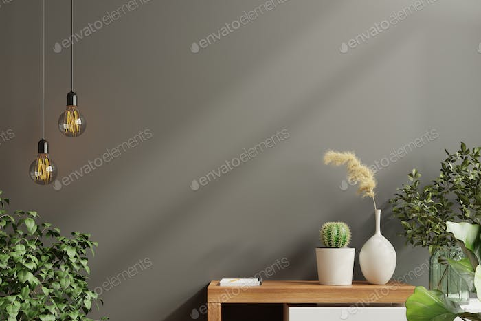 Mockup wall with green plant,Black wall and shelf.