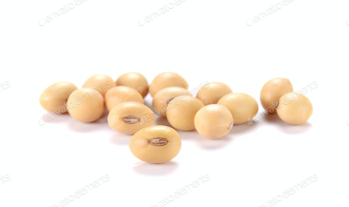 Soy beans on white background.