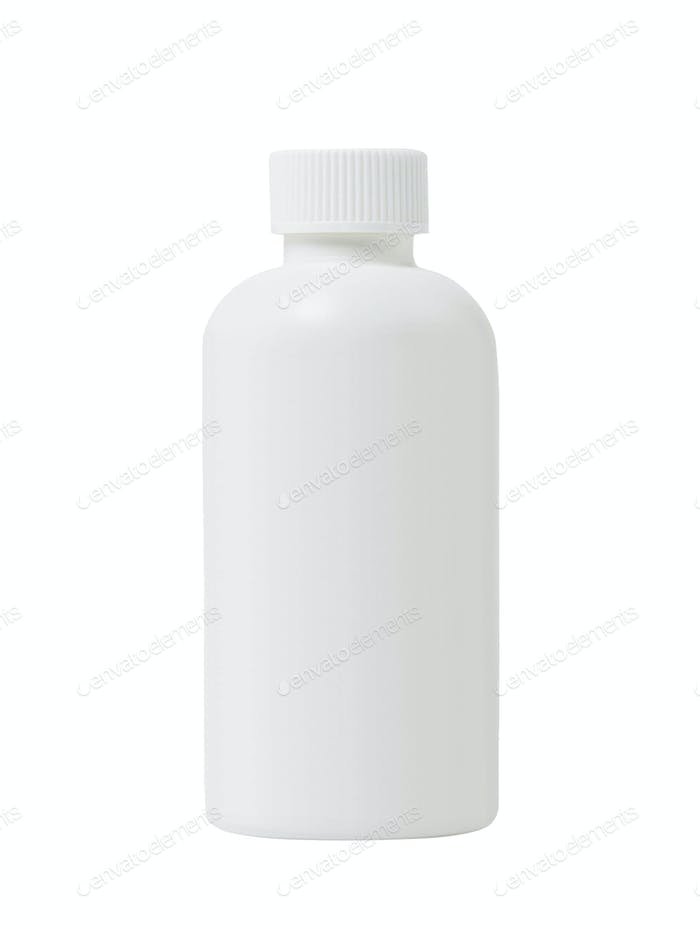 White plastic medical container for pills isolated on white