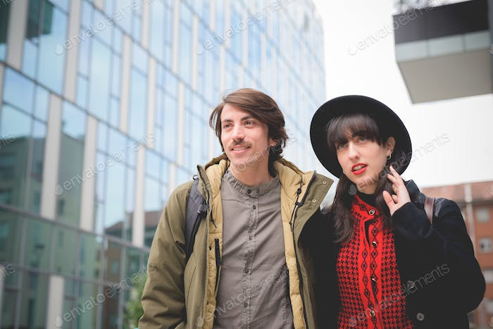 Half length of a couple of beautiful woman and man, with mustach