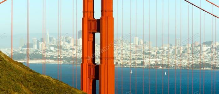 Panoramic Golden Gate Bridge San Francisco Marin County Headland