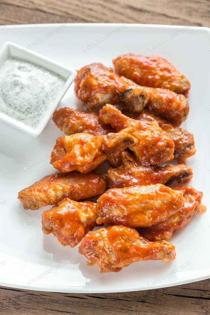 Portion of buffalo chicken wings