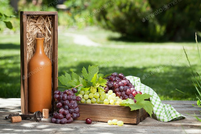 Wine bottle and grape