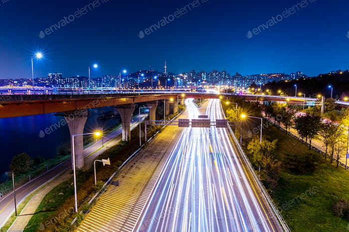 Light trails from vehicles on motorway at night seoul