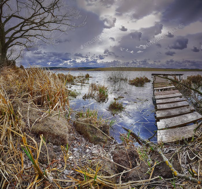 Old wooden pier with dry reed
