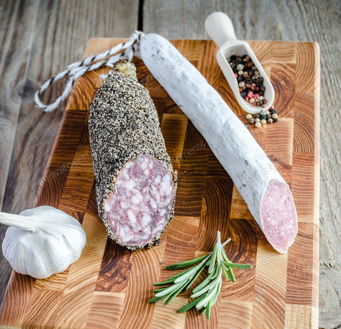 Slices of saucisson and spanish salami