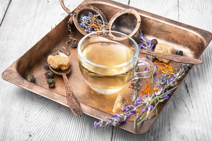 Healing, herbal tea with lavender