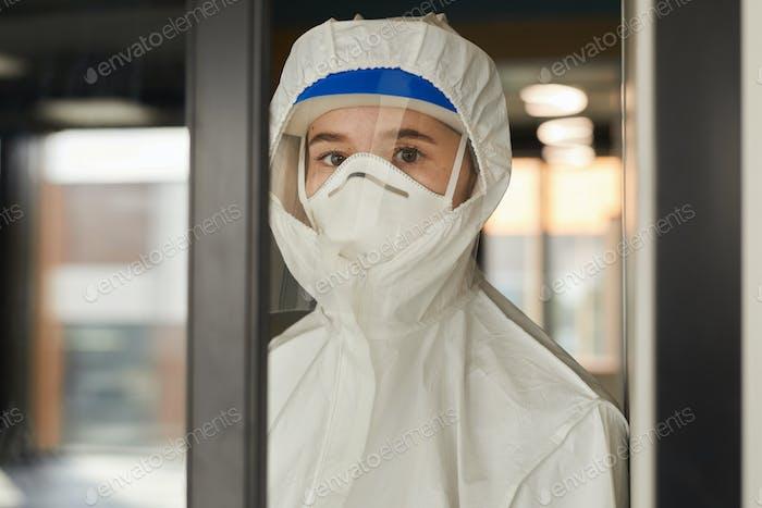 Female Worker Wearing Respirator
