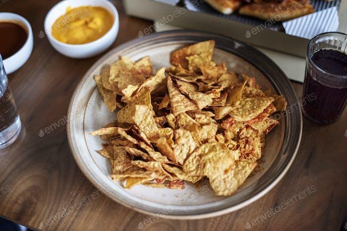 Closeup of nacho snack