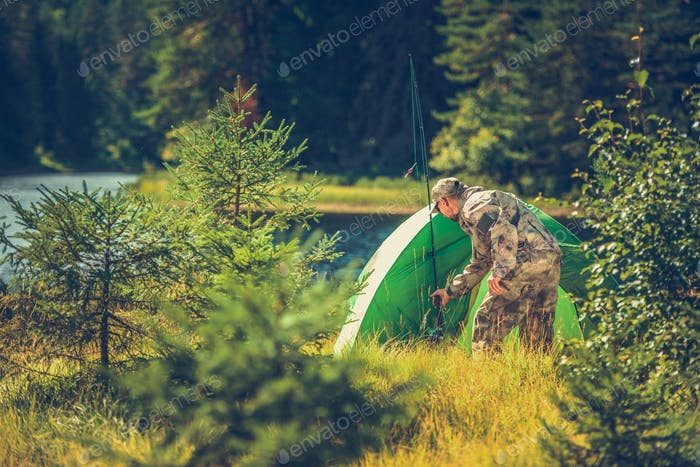 Hunters Camping in the Wild