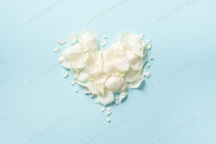 Heart shape made of rose petals on blue punchy pastel background. Top view, flat lay. Summer concept