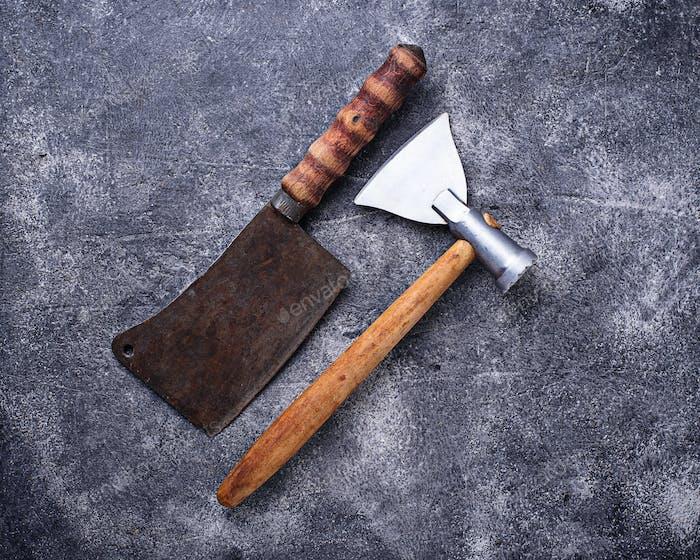 Metzger Vintage Hackmesser und Axt für Fleisch