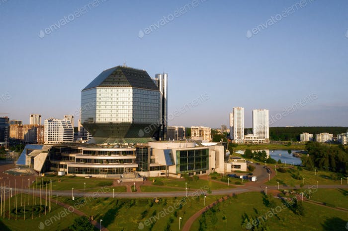 Top view of the National library and a new neighborhood with a Park in Minsk-the capital of the