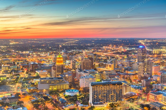 San Antonio, Texas, USA downtown city skyline from above