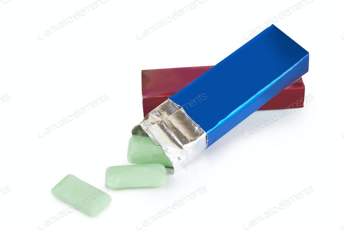 chewing gum on white