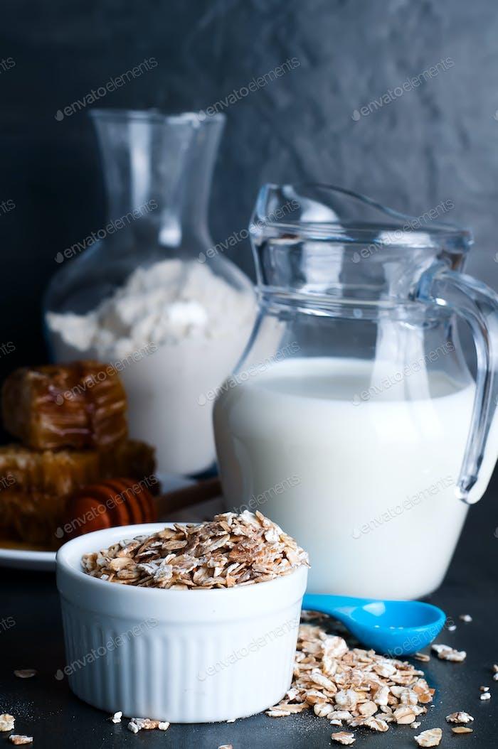 Oatmeal porridge with  glass of milk
