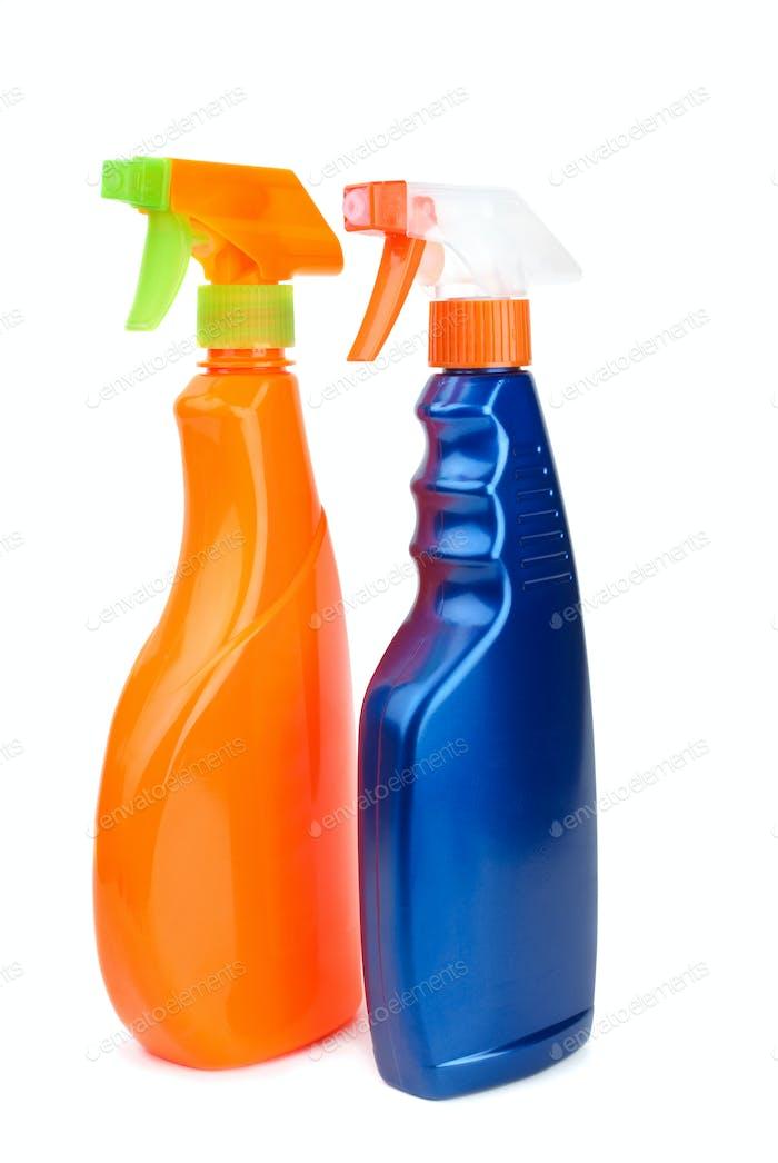 Orange and blue sprayer bottles