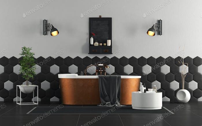 Retro bathroom with copper bathtub