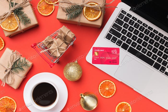 Shopping online with credit card for christmas holiday