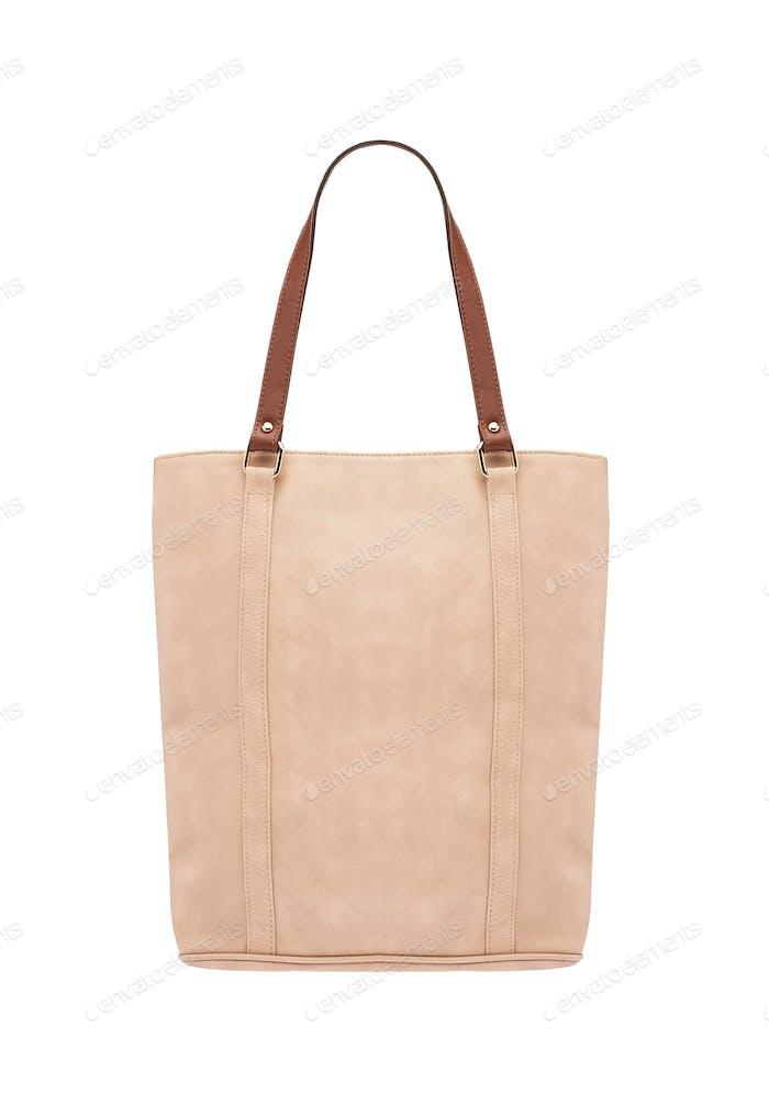 Woman creamy leather bag