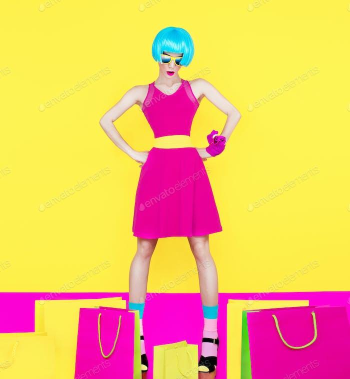 Einkaufen Frau Einkaufen Bugs verrückten Stil