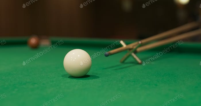 Close up of Snooker shooting on snooker table