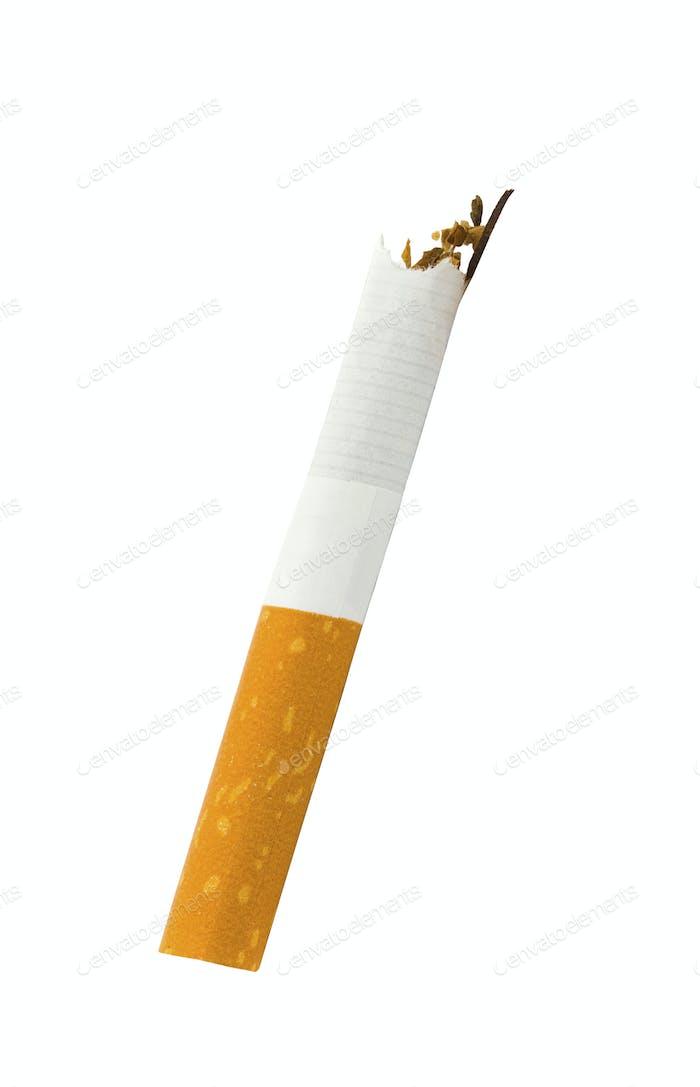 Broken cigarette isolated