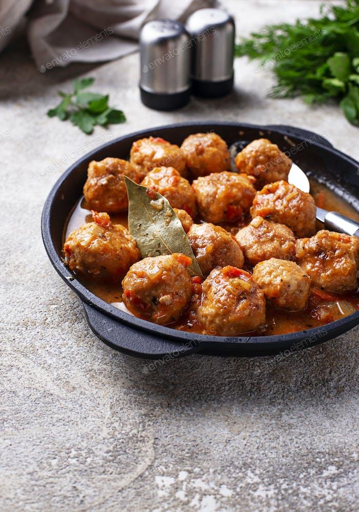 Homemade meatballs with tomato sauce