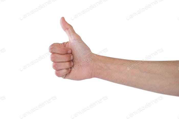 Hand showing thumbs up against white background