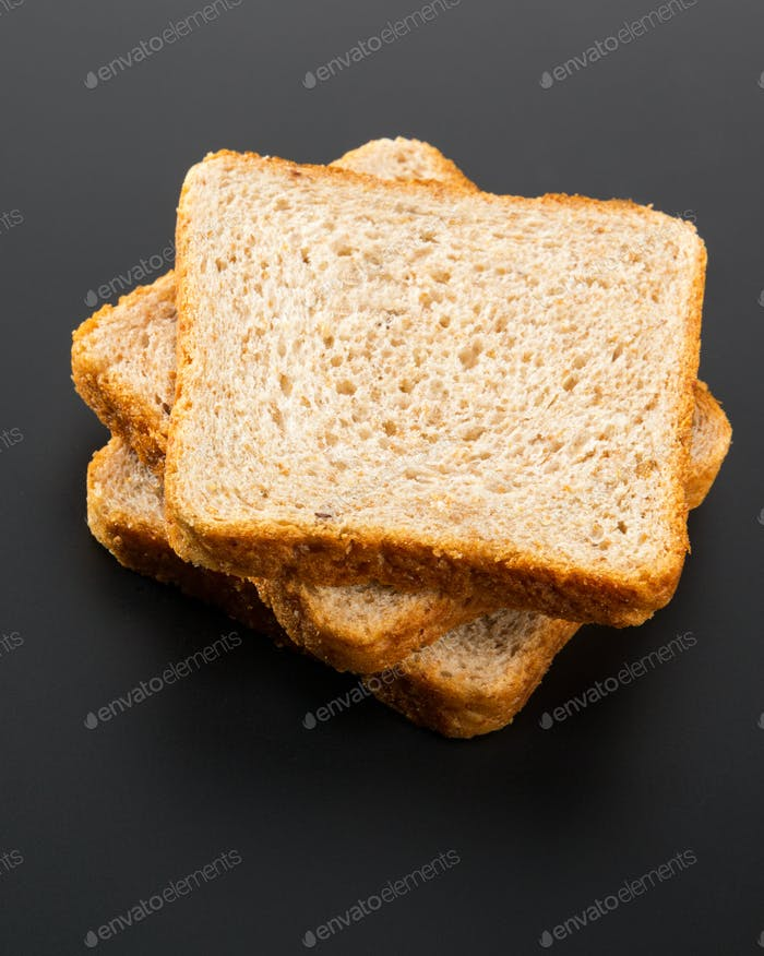 Heap of toasted bread slices